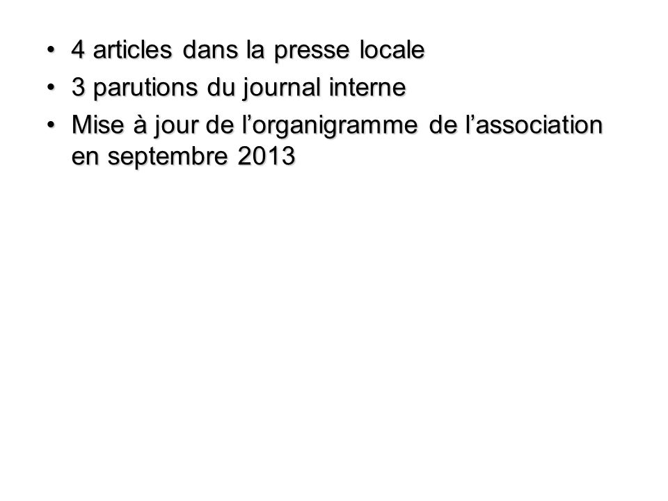 4 articles dans la presse locale4 articles dans la presse locale 3 parutions du journal interne3 parutions du journal interne Mise à jour de l'organigramme de l'association en septembre 2013Mise à jour de l'organigramme de l'association en septembre 2013