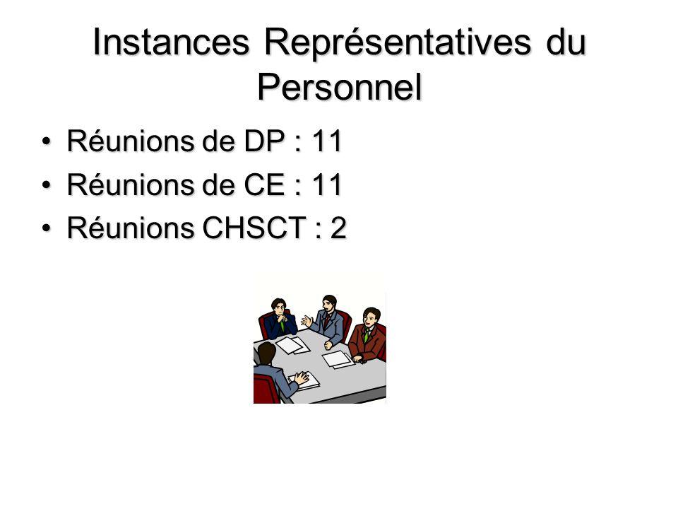 Instances Représentatives du Personnel Réunions de DP : 11 Réunions de CE : 11 Réunions CHSCT : 2
