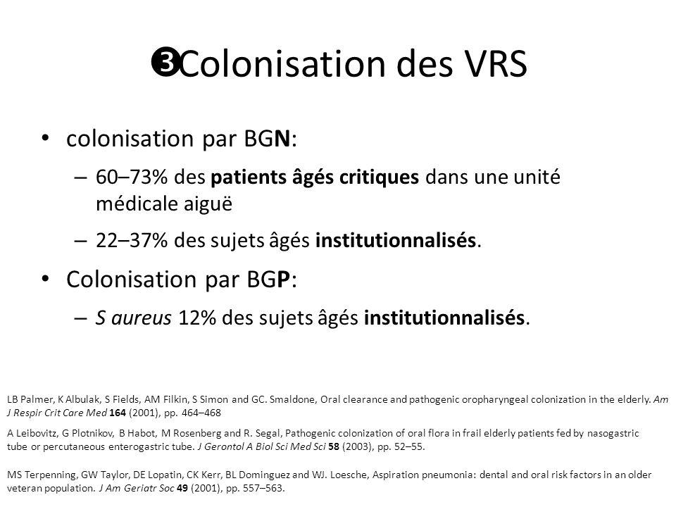 colonisation par BGN: – 60–73% des patients âgés critiques dans une unité médicale aiguë – 22–37% des sujets âgés institutionnalisés.