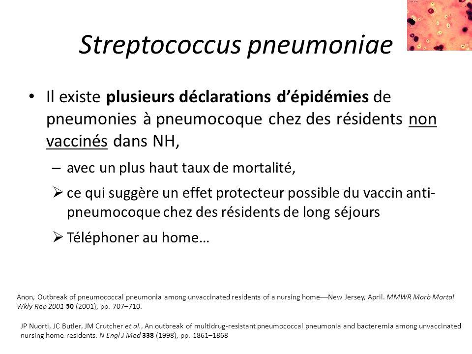 Streptococcus pneumoniae Il existe plusieurs déclarations d'épidémies de pneumonies à pneumocoque chez des résidents non vaccinés dans NH, – avec un plus haut taux de mortalité,  ce qui suggère un effet protecteur possible du vaccin anti- pneumocoque chez des résidents de long séjours  Téléphoner au home… Anon, Outbreak of pneumococcal pneumonia among unvaccinated residents of a nursing home––New Jersey, April.