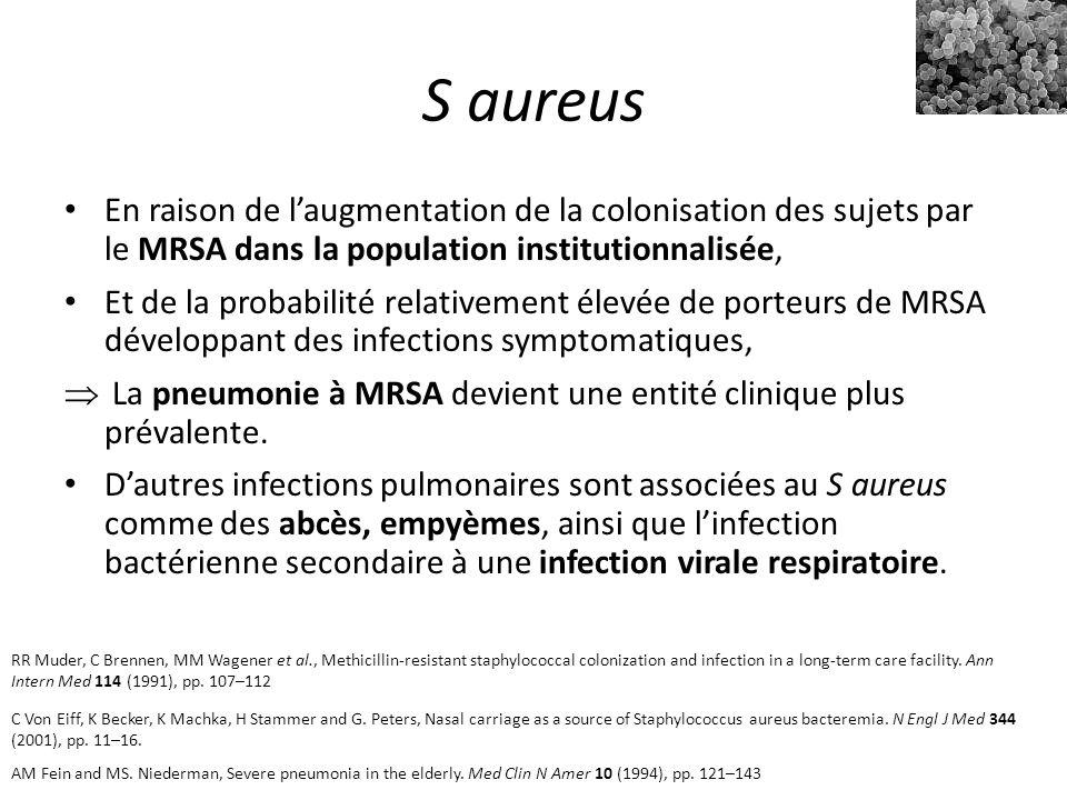 S aureus En raison de l'augmentation de la colonisation des sujets par le MRSA dans la population institutionnalisée, Et de la probabilité relativement élevée de porteurs de MRSA développant des infections symptomatiques,  La pneumonie à MRSA devient une entité clinique plus prévalente.
