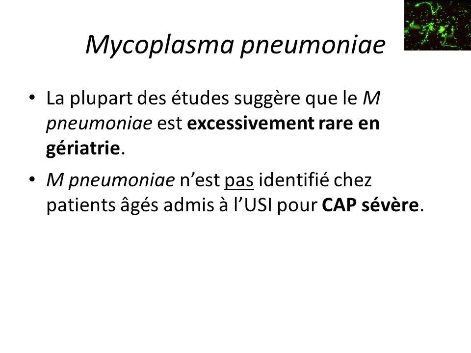 Mycoplasma pneumoniae La plupart des études suggère que le M pneumoniae est excessivement rare en gériatrie.