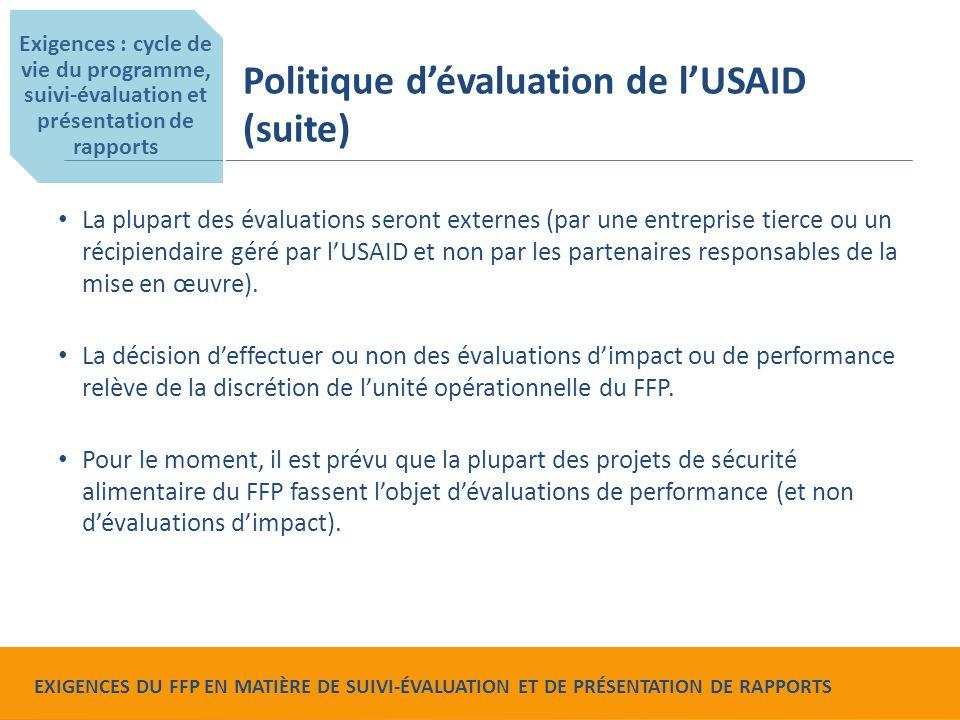 Food for Peace Monitoring, Evaluation and Reporting Requirements La plupart des évaluations seront externes (par une entreprise tierce ou un récipiend