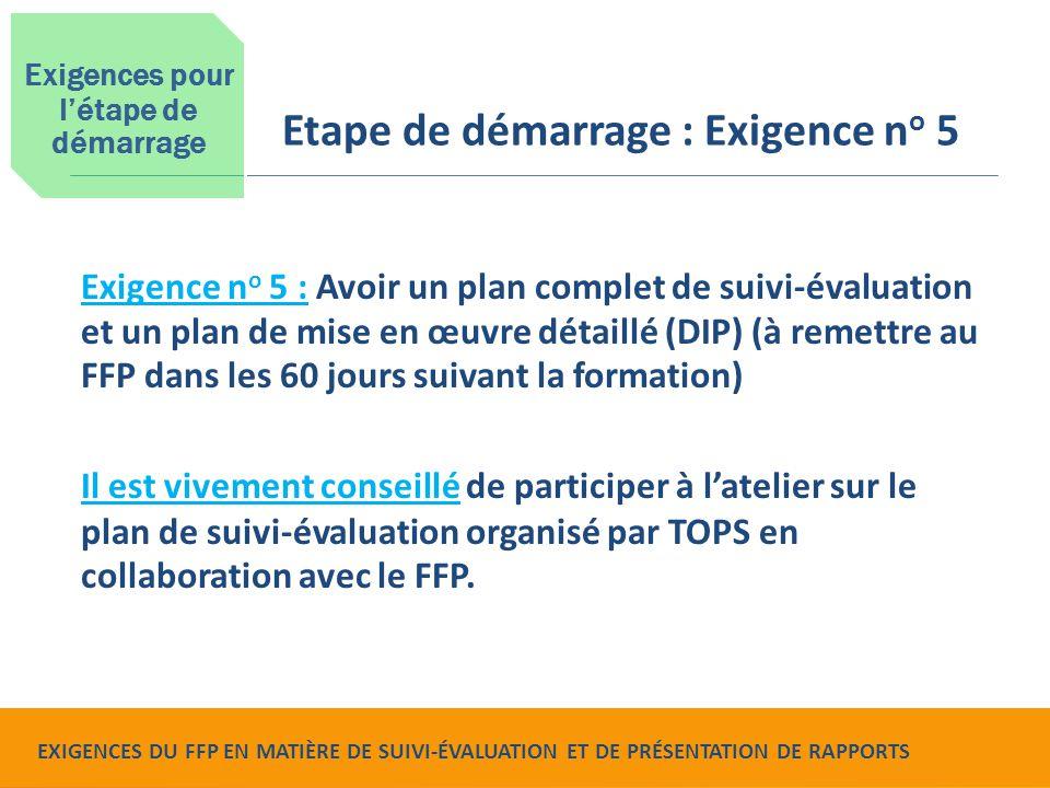 Food for Peace Monitoring, Evaluation and Reporting Requirements Exigence n o 5 : Avoir un plan complet de suivi-évaluation et un plan de mise en œuvr