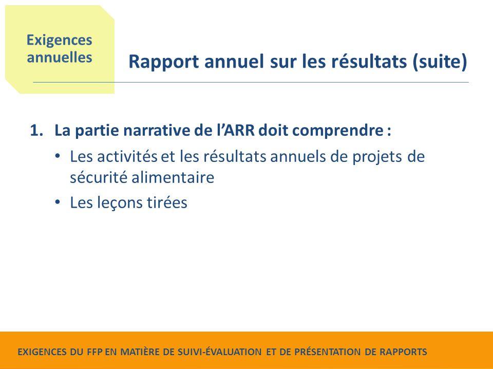 Food for Peace Monitoring, Evaluation and Reporting Requirements 1.La partie narrative de l'ARR doit comprendre : Les activités et les résultats annue