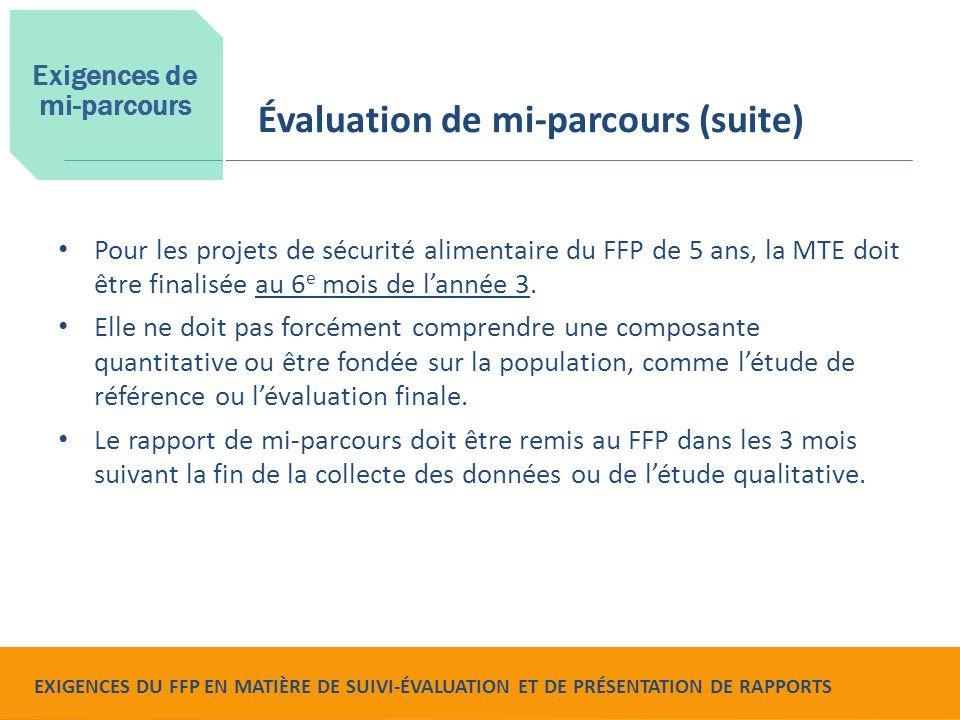 Food for Peace Monitoring, Evaluation and Reporting Requirements Pour les projets de sécurité alimentaire du FFP de 5 ans, la MTE doit être finalisée au 6 e mois de l'année 3.