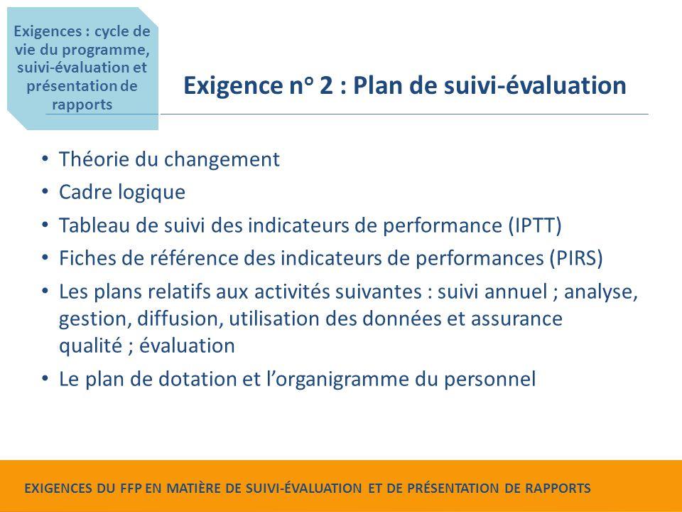 Food for Peace Monitoring, Evaluation and Reporting Requirements L'IPTT doit comprendre : les indicateurs de référence, les indicateurs relatifs à l et d'évaluation finale et les indicateurs relatifs au suivi annuel ; tous les indicateurs « requis » et « requis s'ils sont applicables » exigés par le FFP les indicateurs de mission et les indicateurs F, les indicateurs de genre et les indicateurs environnementaux (seulement s'ils ont trait à la réalisation des activités du projet) ; les indicateurs relatifs à tous les niveaux du cadre logique ; les niveaux de ventilation des données et les cibles pour chaque indicateur.
