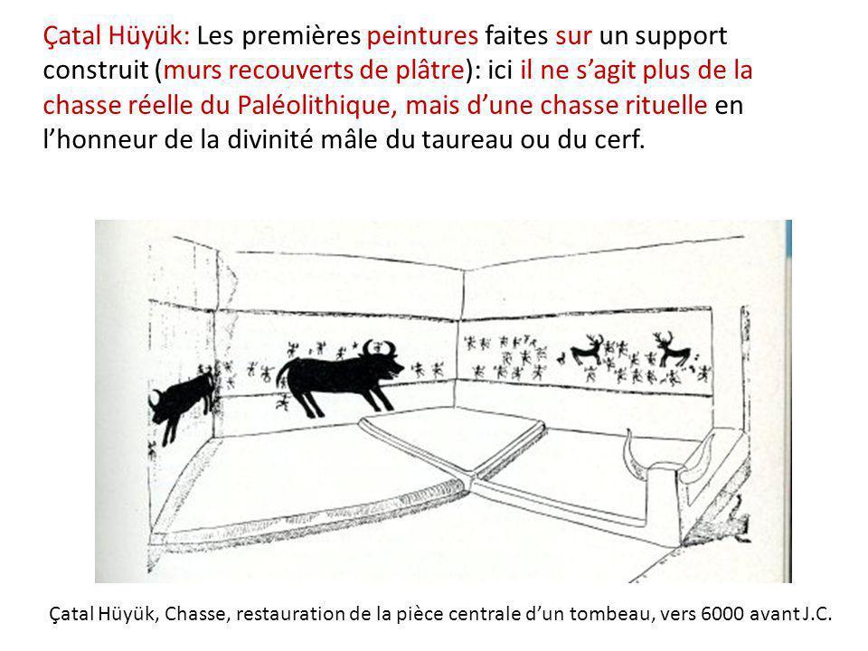 Çatal Hüyük, Chasse, restauration de la pièce centrale d'un tombeau, vers 6000 avant J.C. Çatal Hüyük: Les premières peintures faites sur un support c