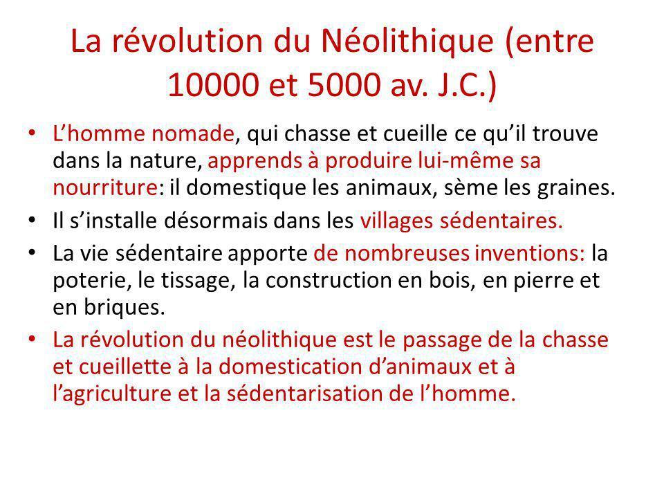 La révolution du Néolithique (entre 10000 et 5000 av. J.C.) L'homme nomade, qui chasse et cueille ce qu'il trouve dans la nature, apprends à produire
