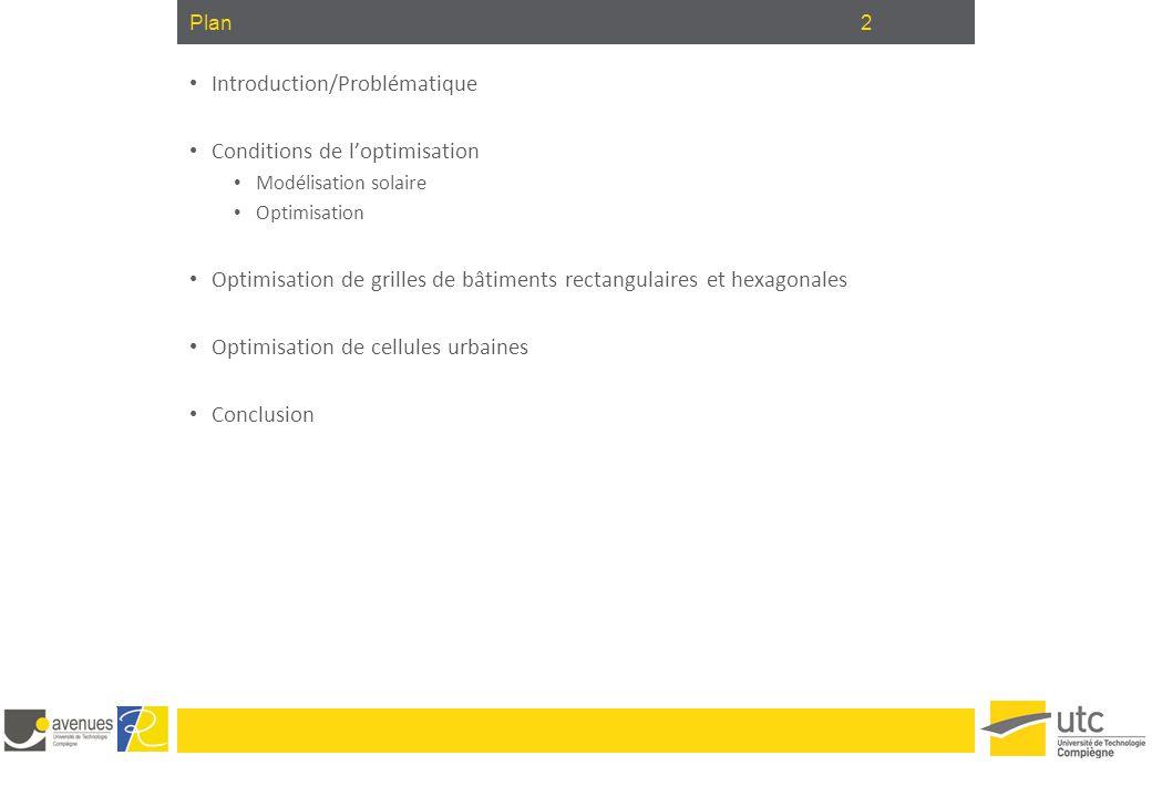 2Plan Introduction/Problématique Conditions de l'optimisation Modélisation solaire Optimisation Optimisation de grilles de bâtiments rectangulaires et
