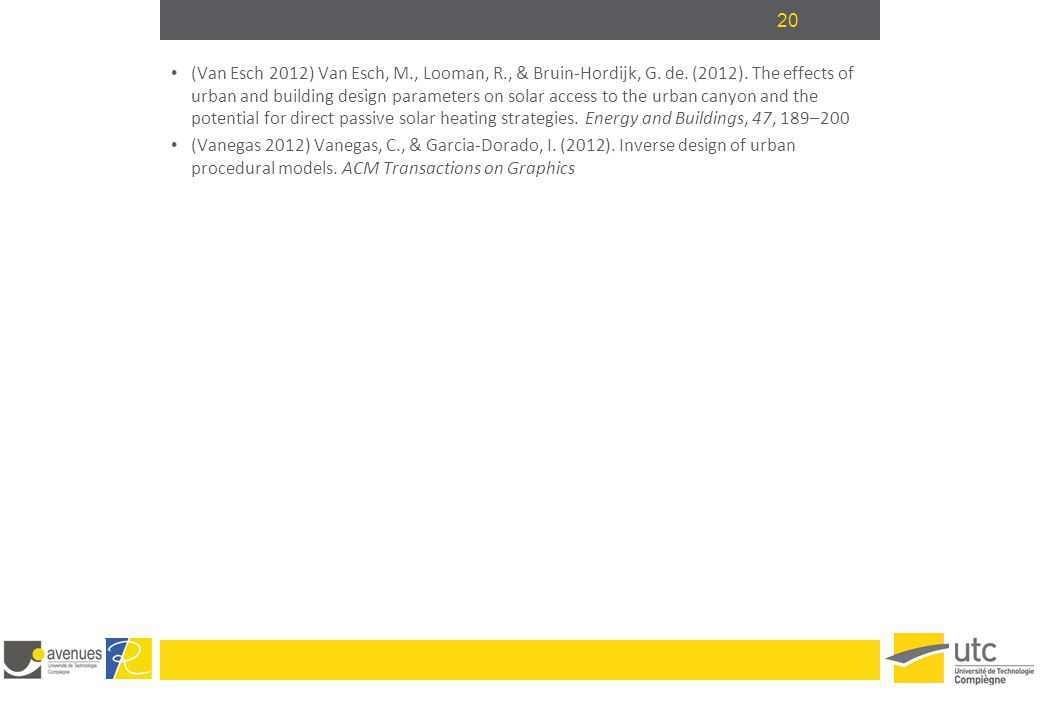 20 (Van Esch 2012) Van Esch, M., Looman, R., & Bruin-Hordijk, G. de. (2012). The effects of urban and building design parameters on solar access to th
