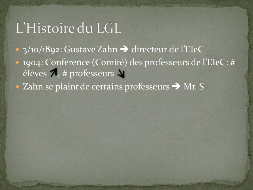 3/10/1892: Gustave Zahn  directeur de l'EIeC 1904: Conférence (Comité) des professeurs de l'EIeC: # élèves, # professeurs Zahn se plaint de certains professeurs  Mr.