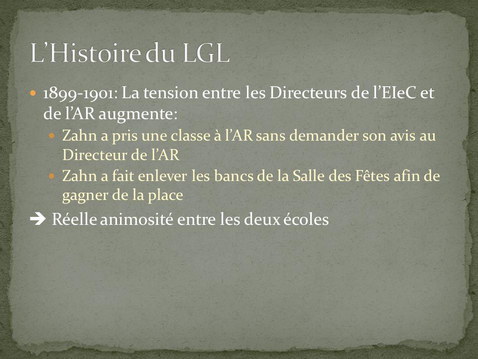 1899-1901: La tension entre les Directeurs de l'EIeC et de l'AR augmente: Zahn a pris une classe à l'AR sans demander son avis au Directeur de l'AR Zahn a fait enlever les bancs de la Salle des Fêtes afin de gagner de la place  Réelle animosité entre les deux écoles