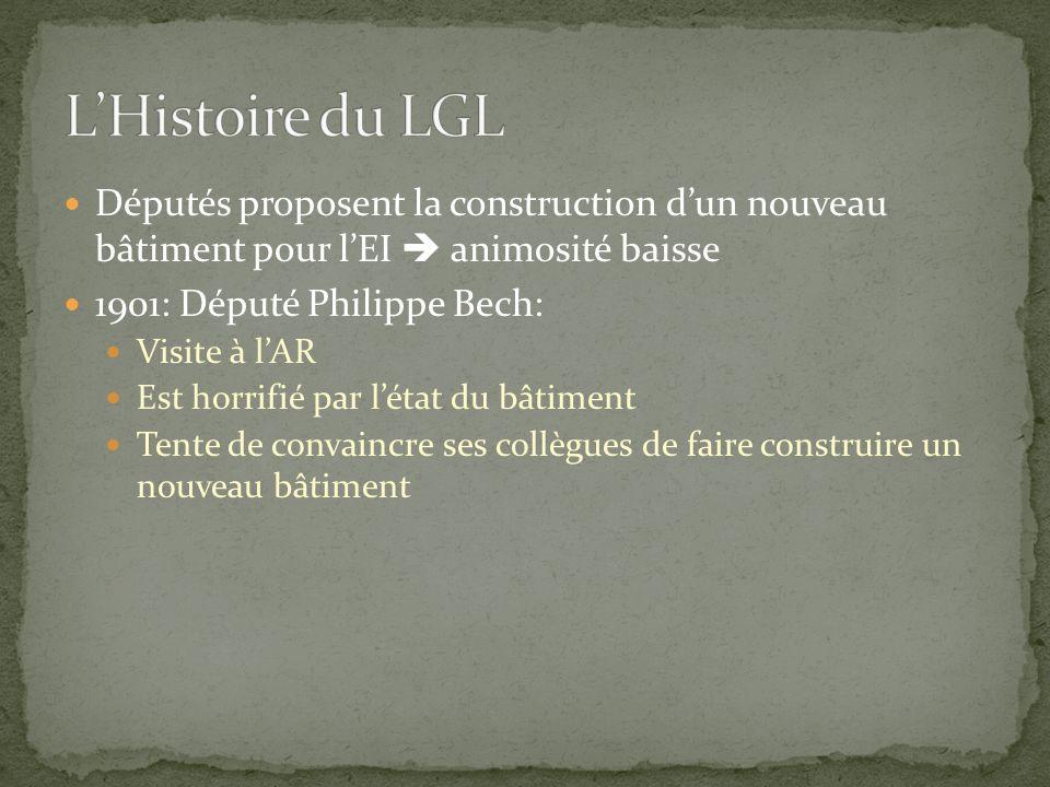 Députés proposent la construction d'un nouveau bâtiment pour l'EI  animosité baisse 1901: Député Philippe Bech: Visite à l'AR Est horrifié par l'état