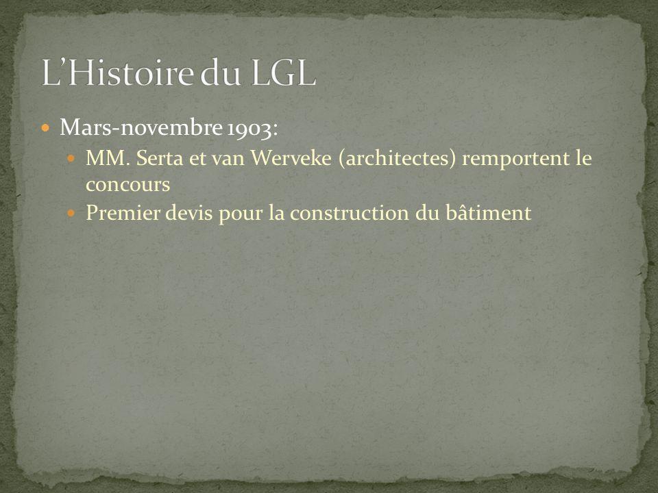Mars-novembre 1903: MM. Serta et van Werveke (architectes) remportent le concours Premier devis pour la construction du bâtiment