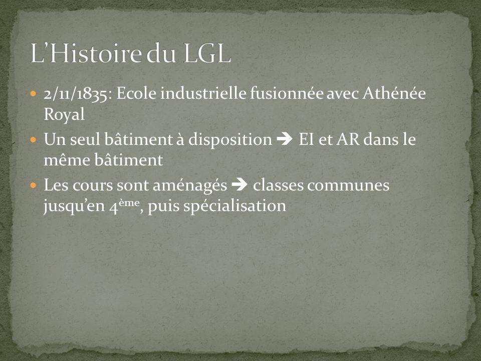 2/11/1835: Ecole industrielle fusionnée avec Athénée Royal Un seul bâtiment à disposition  EI et AR dans le même bâtiment Les cours sont aménagés  classes communes jusqu'en 4 ème, puis spécialisation