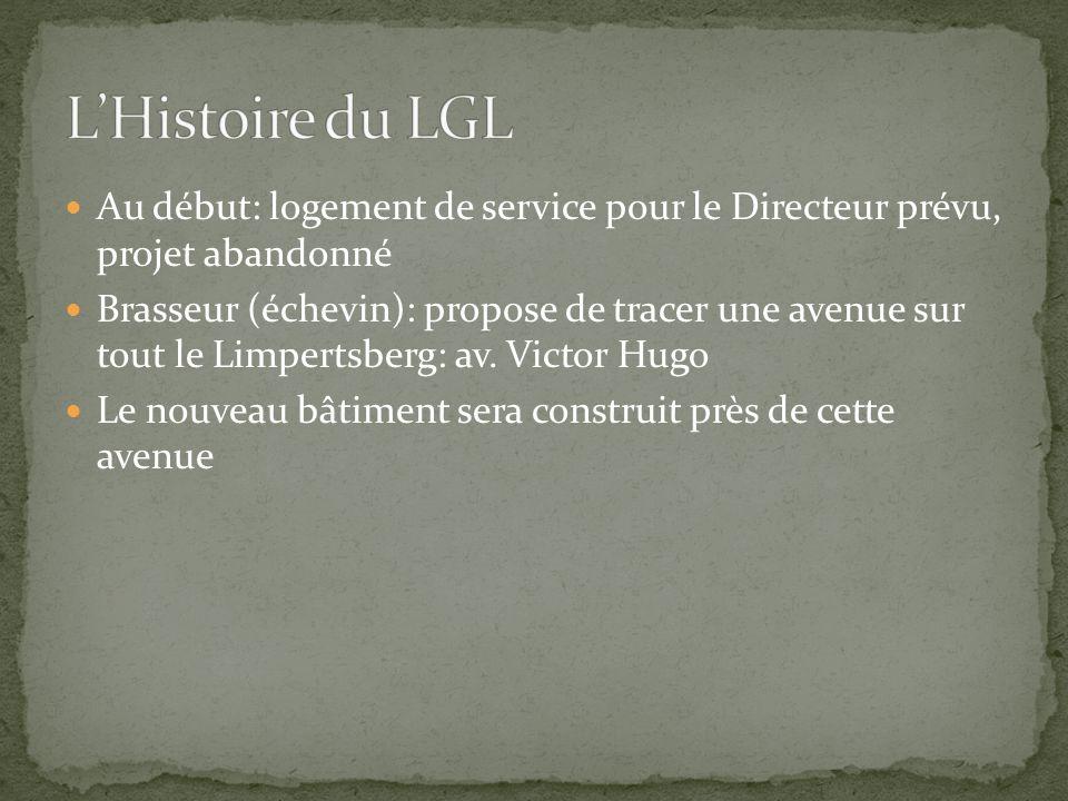 Au début: logement de service pour le Directeur prévu, projet abandonné Brasseur (échevin): propose de tracer une avenue sur tout le Limpertsberg: av.