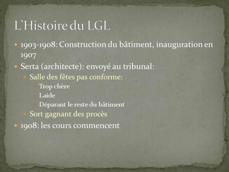 1903-1908: Construction du bâtiment, inauguration en 1907 Serta (architecte): envoyé au tribunal: Salle des fêtes pas conforme: Trop chère Laide Dépar