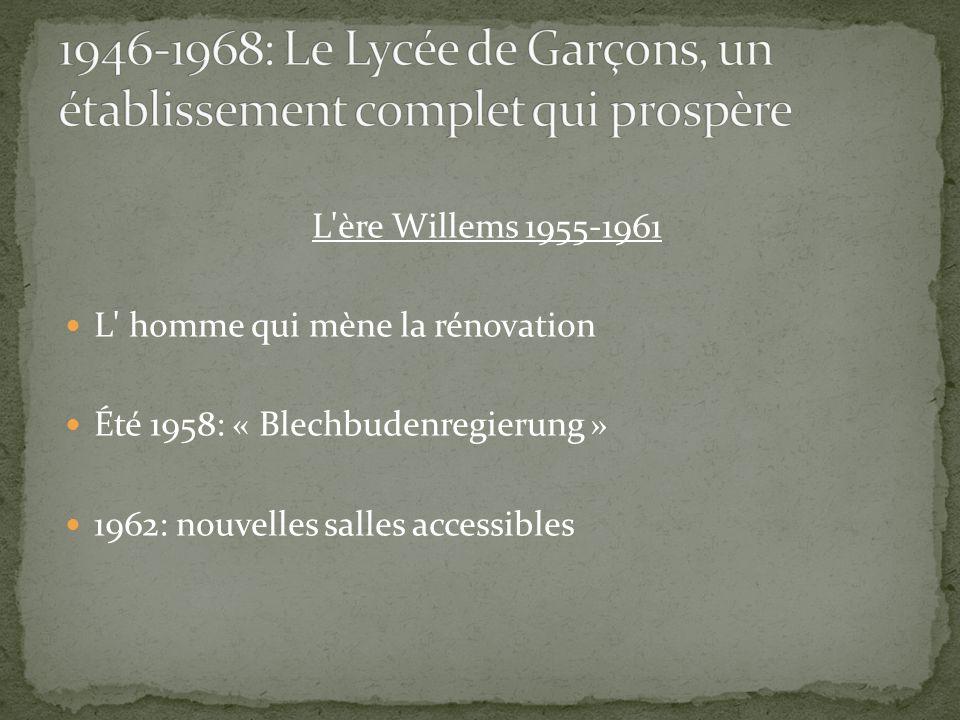 L'ère Willems 1955-1961 L' homme qui mène la rénovation Été 1958: « Blechbudenregierung » 1962: nouvelles salles accessibles