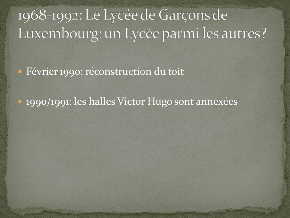 Février 1990: réconstruction du toit 1990/1991: les halles Victor Hugo sont annexées
