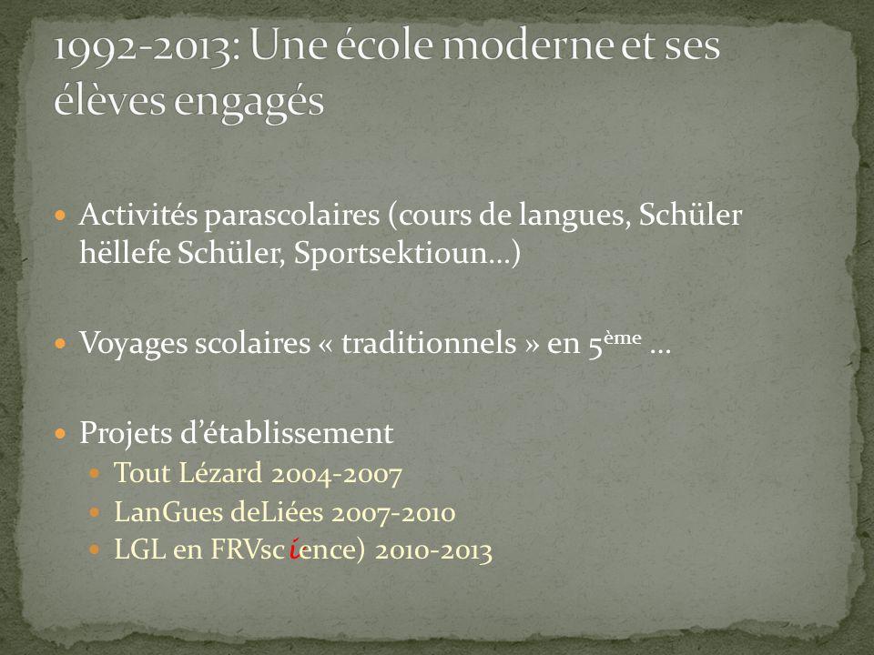 Activités parascolaires (cours de langues, Schüler hëllefe Schüler, Sportsektioun…) Voyages scolaires « traditionnels » en 5 ème … Projets d'établisse