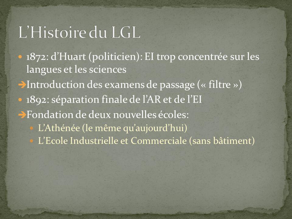 1872: d'Huart (politicien): EI trop concentrée sur les langues et les sciences  Introduction des examens de passage (« filtre ») 1892: séparation fin