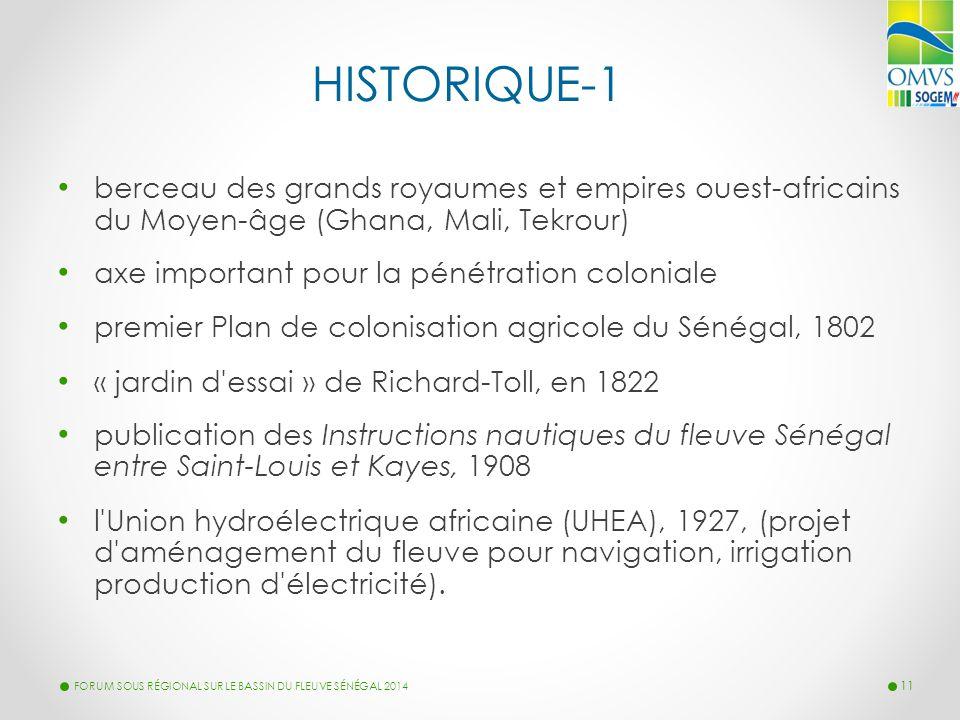 HISTORIQUE-1 berceau des grands royaumes et empires ouest-africains du Moyen-âge (Ghana, Mali, Tekrour) axe important pour la pénétration coloniale pr