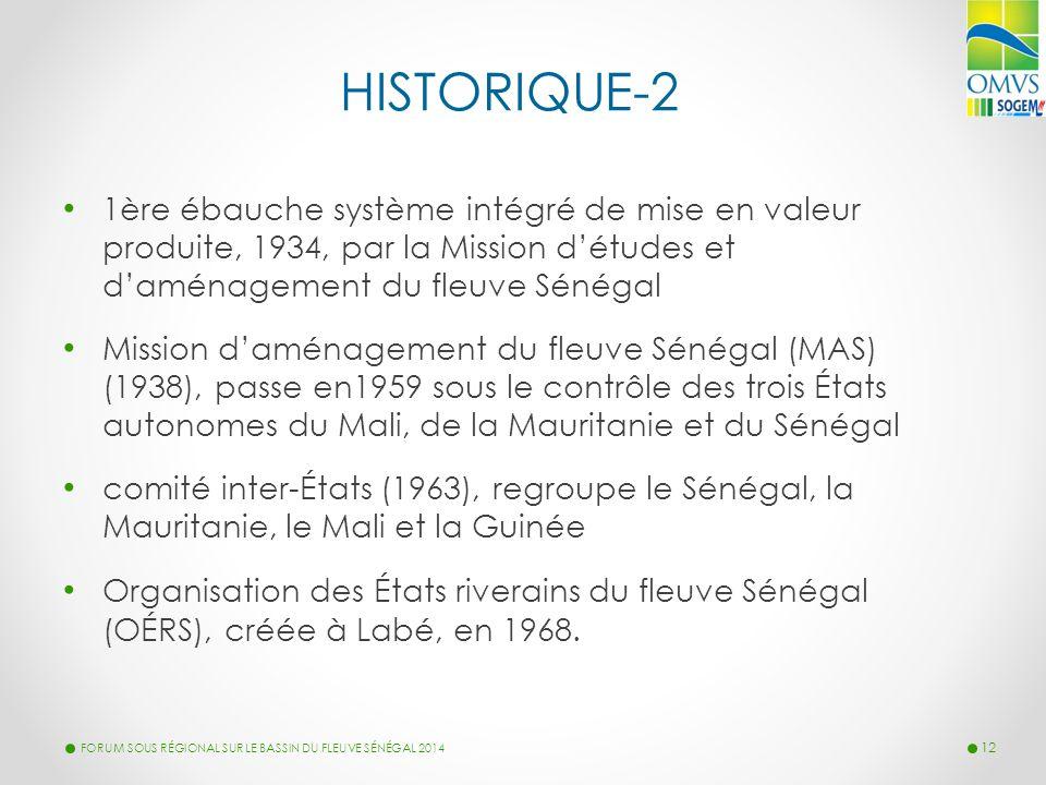 LA MISE EN VALEUR DU FLEUVE HISTORIQUE-2 1ère ébauche système intégré de mise en valeur produite, 1934, par la Mission d'études et d'aménagement du fl