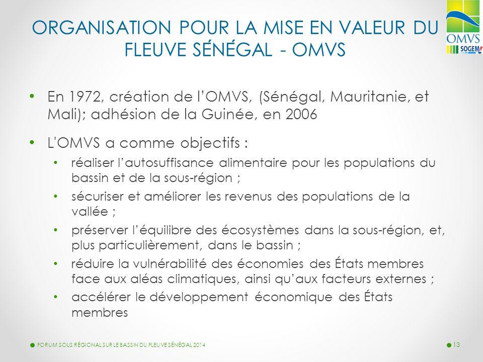 ORGANISATION POUR LA MISE EN VALEUR DU FLEUVE SENEGAL - OMVS En 1972, création de l'OMVS, (Sénégal, Mauritanie, et Mali); adhésion de la Guinée, en 20