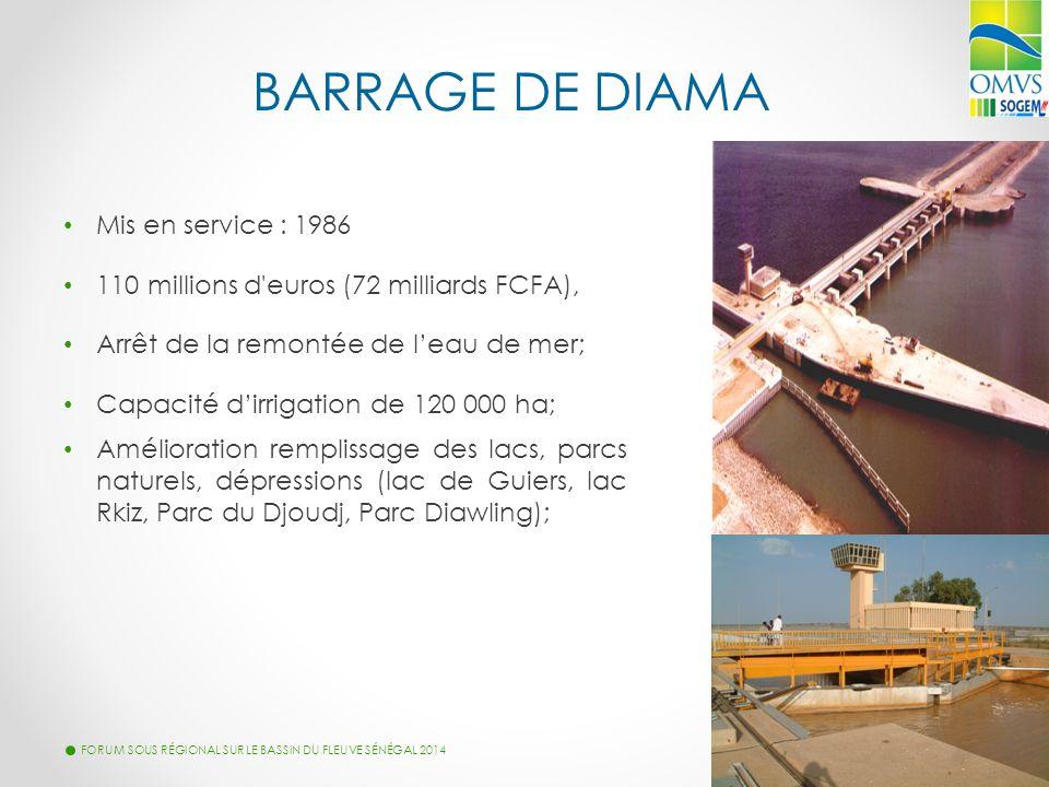 BARRAGE DE DIAMA FORUM SOUS RÉGIONAL SUR LE BASSIN DU FLEUVE SÉNÉGAL 2014 20 Mis en service : 1986 110 millions d'euros (72 milliards FCFA), Arrêt de