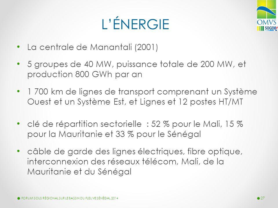 L'ÉNERGIE La centrale de Manantali (2001) 5 groupes de 40 MW, puissance totale de 200 MW, et production 800 GWh par an 1 700 km de lignes de transport