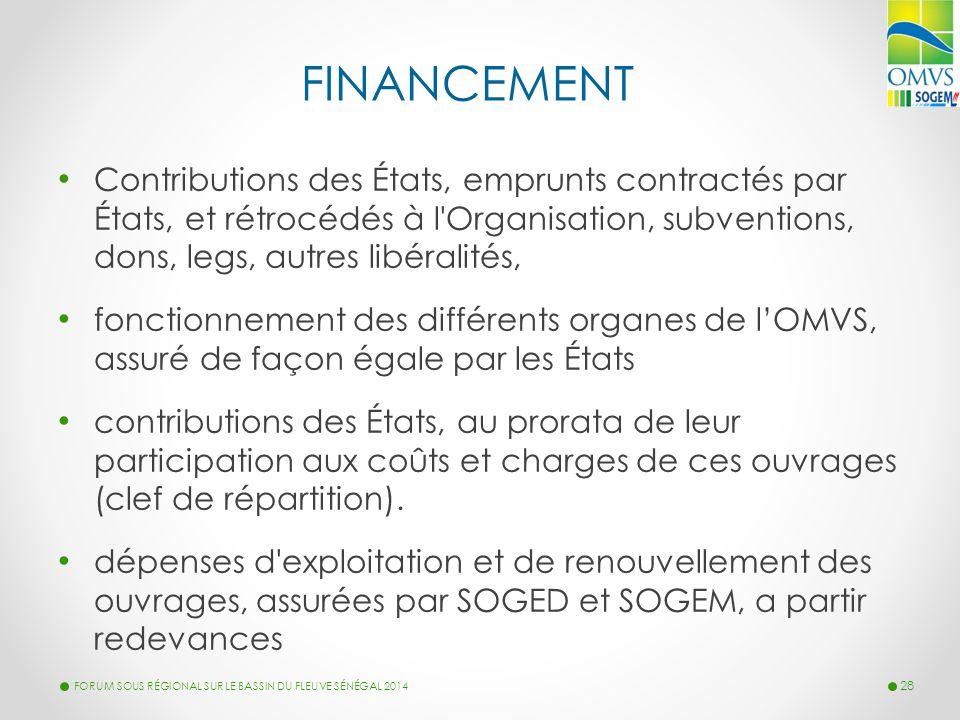 FINANCEMENT Contributions des États, emprunts contractés par États, et rétrocédés à l'Organisation, subventions, dons, legs, autres libéralités, fonct