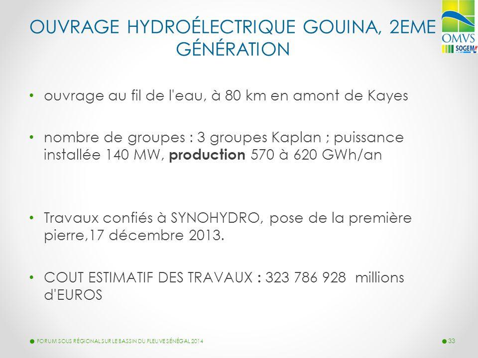OUVRAGE HYDROÉLECTRIQUE GOUINA, 2EME GÉNÉRATION ouvrage au fil de l'eau, à 80 km en amont de Kayes nombre de groupes : 3 groupes Kaplan ; puissance in