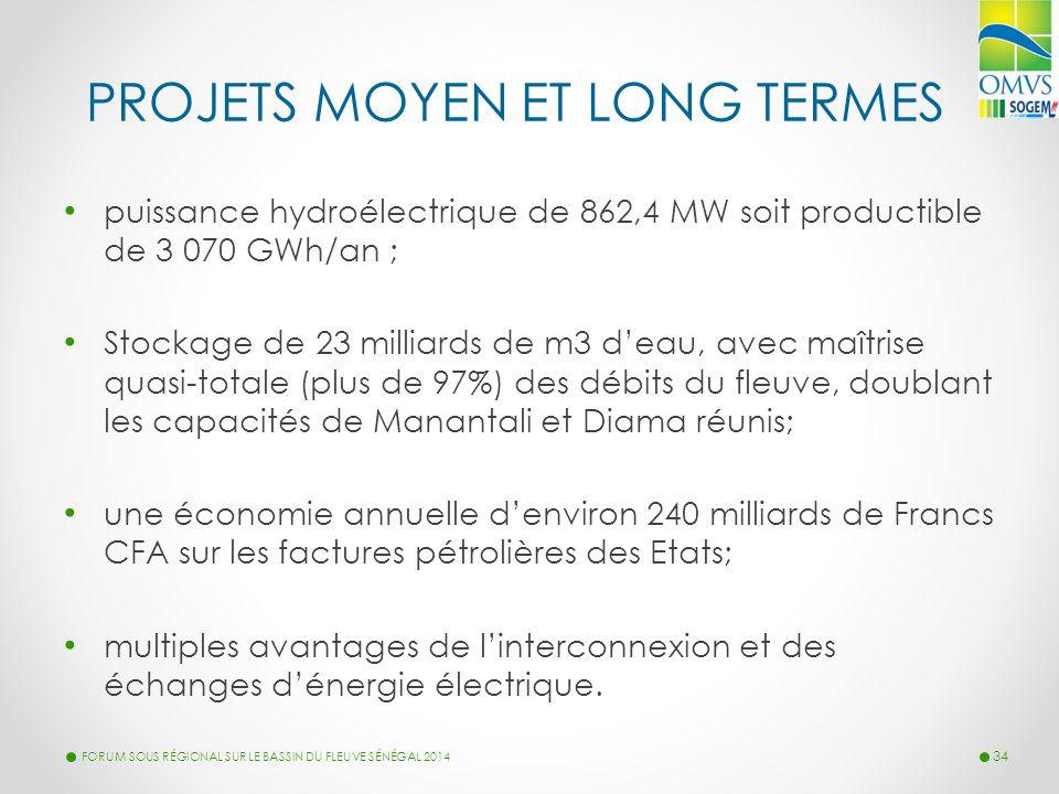 PROJETS MOYEN ET LONG TERMES puissance hydroélectrique de 862,4 MW soit productible de 3 070 GWh/an ; Stockage de 23 milliards de m3 d'eau, avec maîtr