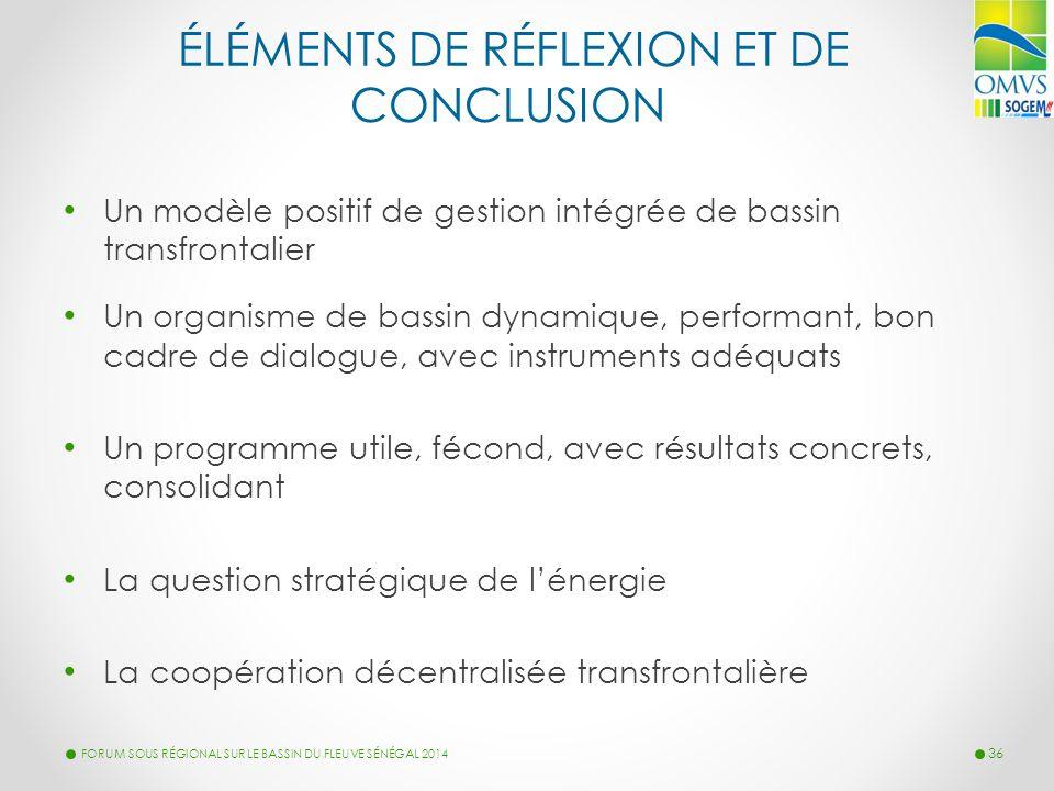 ÉLÉMENTS DE RÉFLEXION ET DE CONCLUSION Un modèle positif de gestion intégrée de bassin transfrontalier Un organisme de bassin dynamique, performant, b