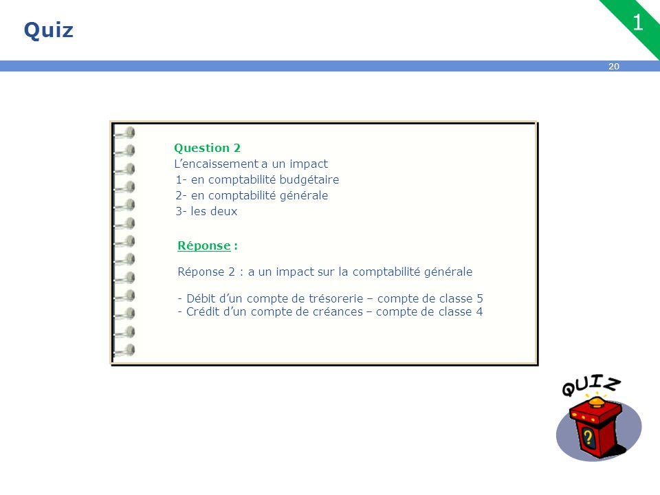 20 Quiz Question 2 L'encaissement a un impact 1- en comptabilité budgétaire 2- en comptabilité générale 3- les deux Réponse : Réponse 2 : a un impact