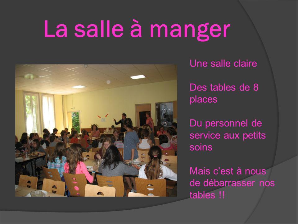 La salle à manger Une salle claire Des tables de 8 places Du personnel de service aux petits soins Mais c'est à nous de débarrasser nos tables !!