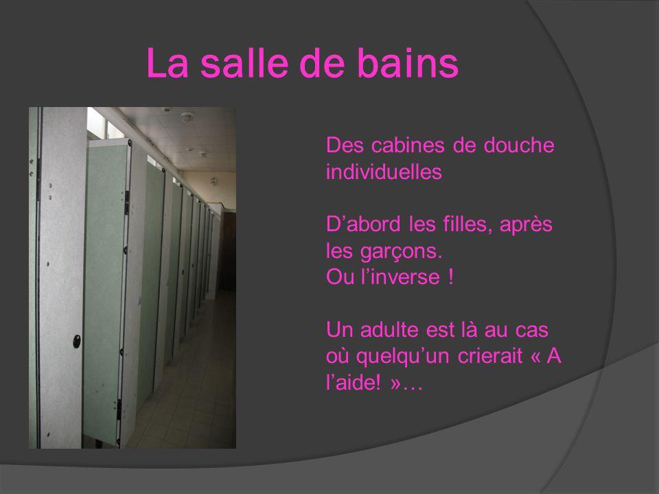 La salle de bains Des cabines de douche individuelles D'abord les filles, après les garçons. Ou l'inverse ! Un adulte est là au cas où quelqu'un crier