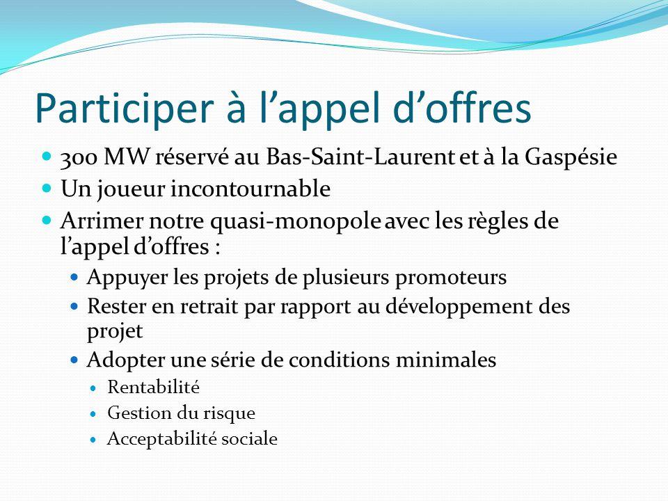 Participer à l'appel d'offres 300 MW réservé au Bas-Saint-Laurent et à la Gaspésie Un joueur incontournable Arrimer notre quasi-monopole avec les règles de l'appel d'offres : Appuyer les projets de plusieurs promoteurs Rester en retrait par rapport au développement des projet Adopter une série de conditions minimales Rentabilité Gestion du risque Acceptabilité sociale