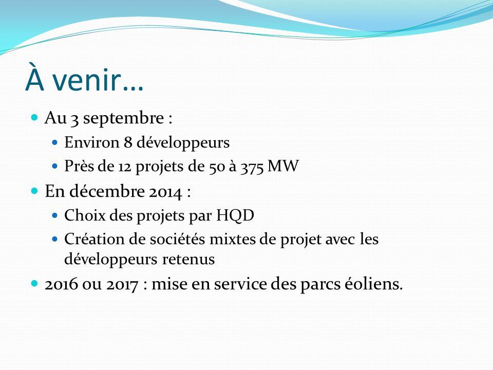À venir… Au 3 septembre : Environ 8 développeurs Près de 12 projets de 50 à 375 MW En décembre 2014 : Choix des projets par HQD Création de sociétés mixtes de projet avec les développeurs retenus 2016 ou 2017 : mise en service des parcs éoliens.