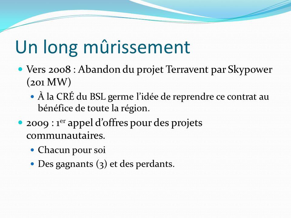 Un long mûrissement Vers 2008 : Abandon du projet Terravent par Skypower (201 MW) À la CRÉ du BSL germe l'idée de reprendre ce contrat au bénéfice de toute la région.