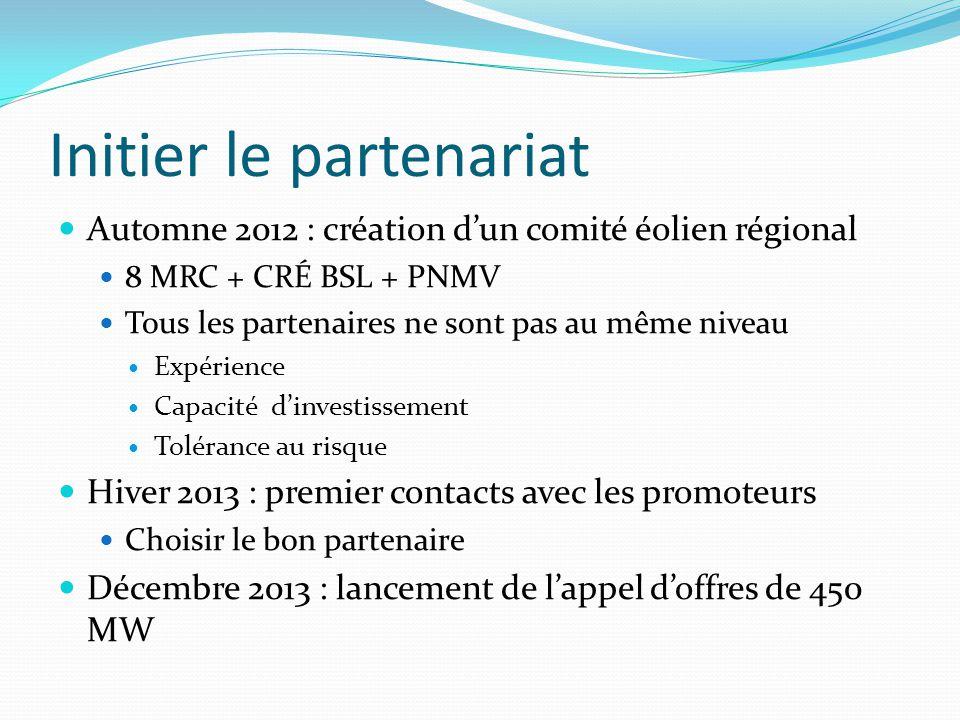 Initier le partenariat Automne 2012 : création d'un comité éolien régional 8 MRC + CRÉ BSL + PNMV Tous les partenaires ne sont pas au même niveau Expérience Capacité d'investissement Tolérance au risque Hiver 2013 : premier contacts avec les promoteurs Choisir le bon partenaire Décembre 2013 : lancement de l'appel d'offres de 450 MW