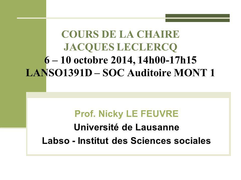 COURS DE LA CHAIRE JACQUES LECLERCQ 6 – 10 octobre 2014, 14h00-17h15 LANSO1391D – SOC Auditoire MONT 1 Prof. Nicky LE FEUVRE Université de Lausanne La