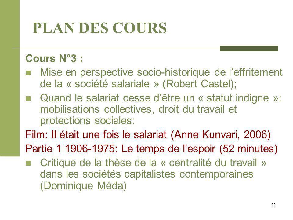 PLAN DES COURS Cours N°3 : Mise en perspective socio-historique de l'effritement de la « société salariale » (Robert Castel); Quand le salariat cesse