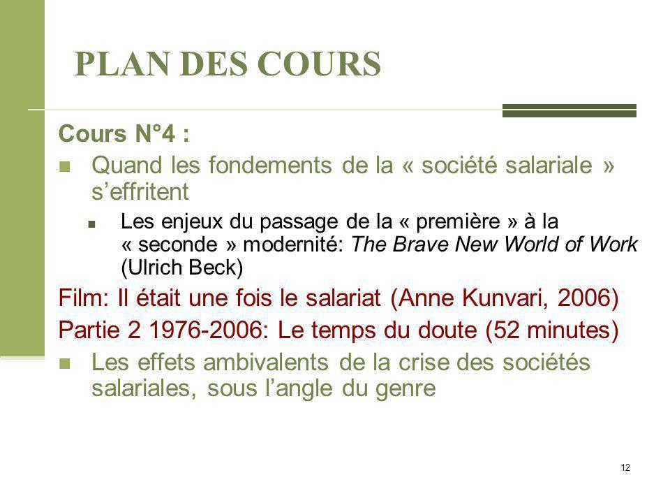 PLAN DES COURS Cours N°4 : Quand les fondements de la « société salariale » s'effritent Les enjeux du passage de la « première » à la « seconde » mode