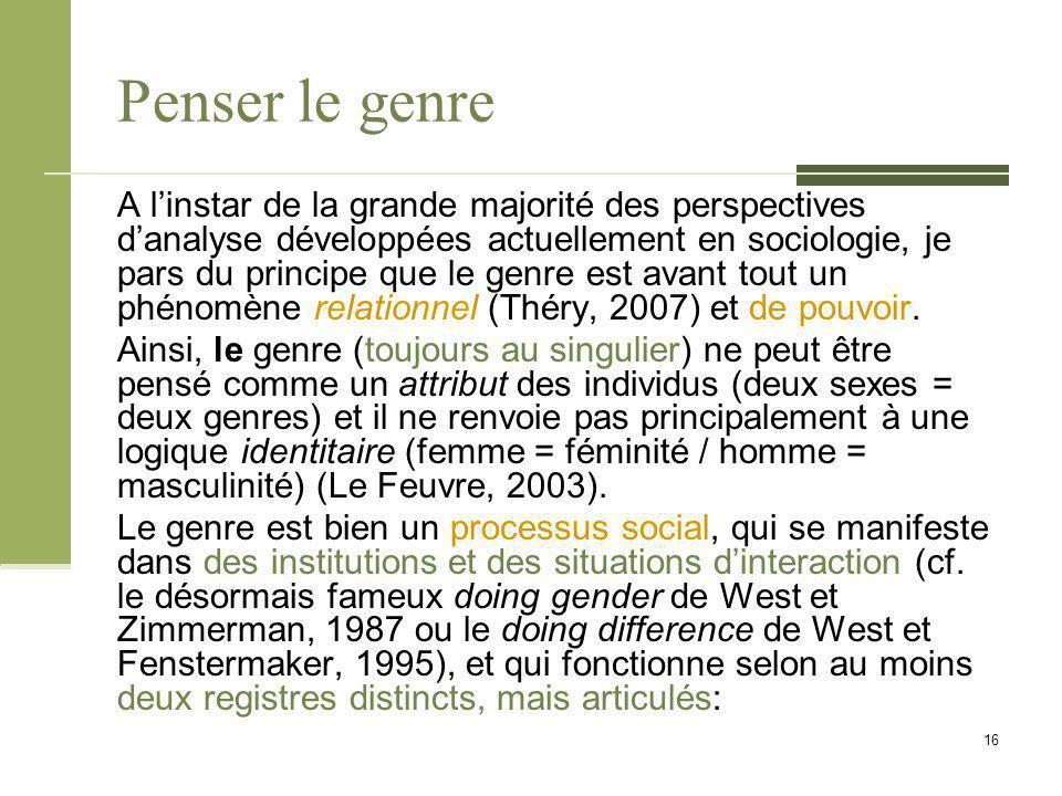 Penser le genre A l'instar de la grande majorité des perspectives d'analyse développées actuellement en sociologie, je pars du principe que le genre est avant tout un phénomène relationnel (Théry, 2007) et de pouvoir.