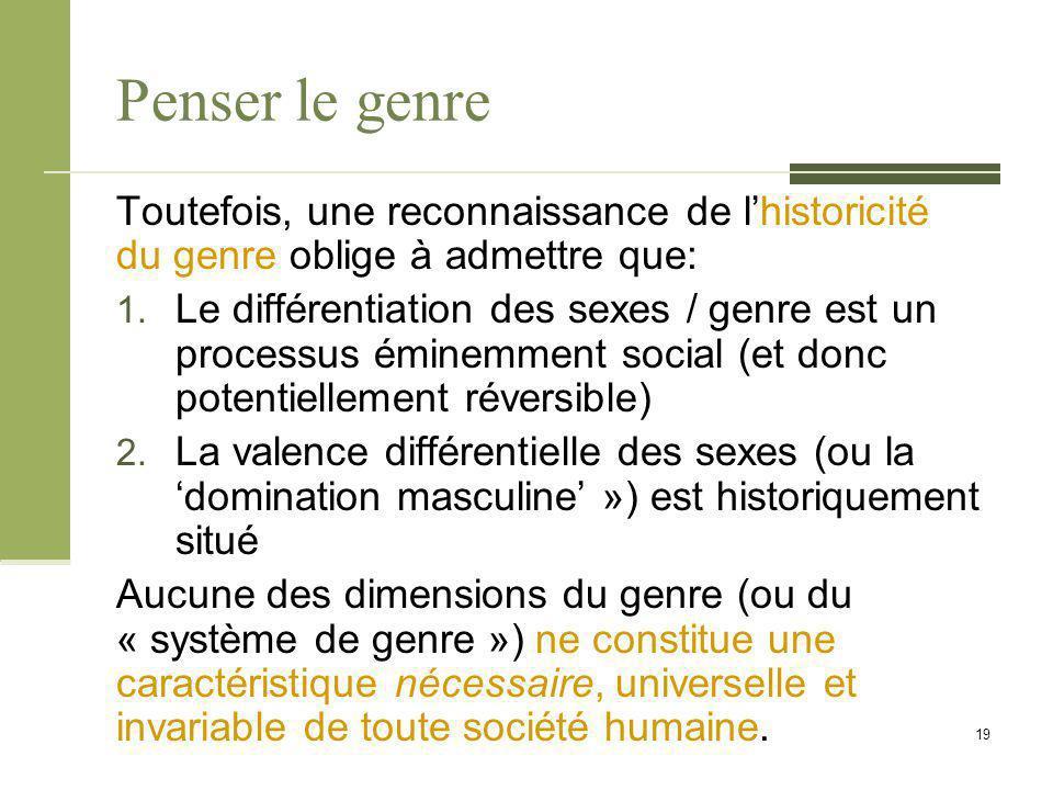 Penser le genre Toutefois, une reconnaissance de l'historicité du genre oblige à admettre que: 1. Le différentiation des sexes / genre est un processu