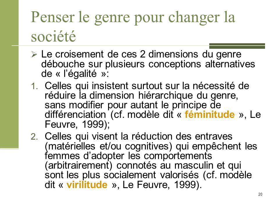 Penser le genre pour changer la société  Le croisement de ces 2 dimensions du genre débouche sur plusieurs conceptions alternatives de « l'égalité »: 1.