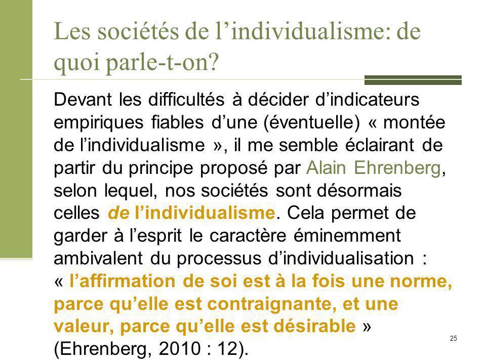Les sociétés de l'individualisme: de quoi parle-t-on? Devant les difficultés à décider d'indicateurs empiriques fiables d'une (éventuelle) « montée de