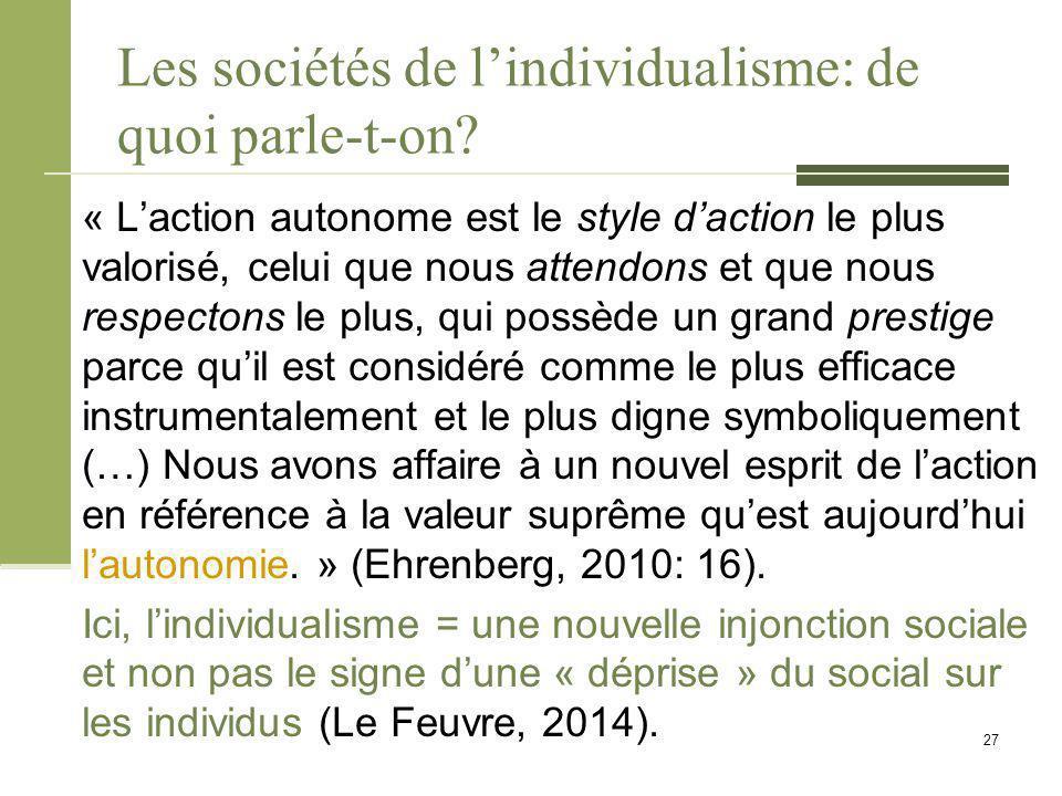 Les sociétés de l'individualisme: de quoi parle-t-on? « L'action autonome est le style d'action le plus valorisé, celui que nous attendons et que nous
